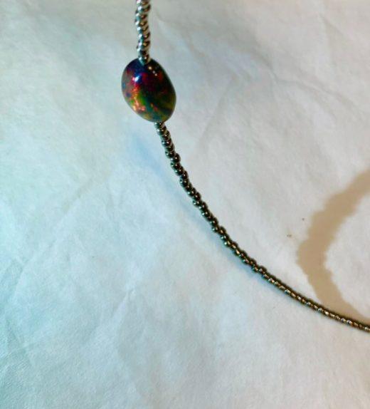 naszyjnik krótki z opalem czarny etiopski welo, ludzie tęczy, żywioł powietrza, #opal, IMG_5274