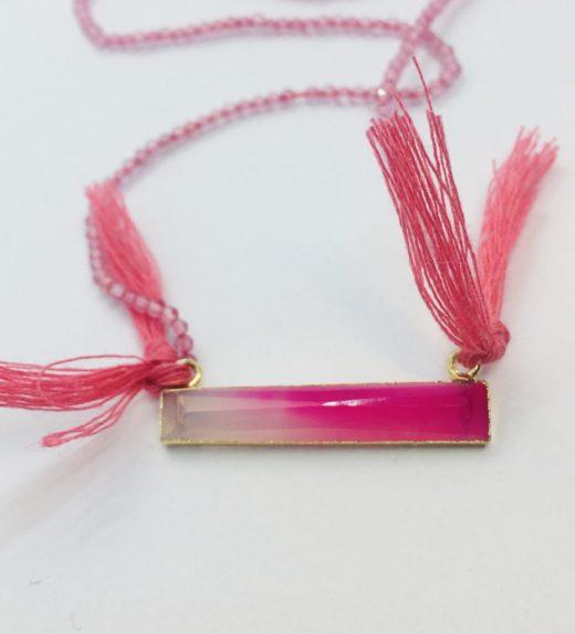 Średni naszyjnik z maleńkich cyrkonii z beleczką różowego agatu, ludzie chmur, żywioł powietrza, IMG_5400