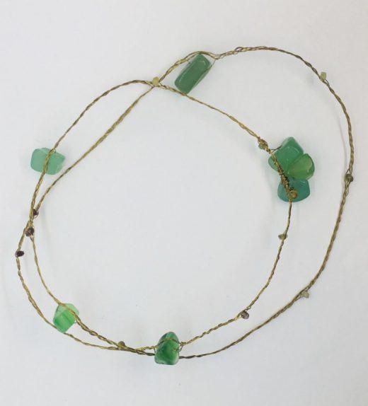 Długi naszyjnik z zielonym agatem i turmalinami, ludzie lasu, żywioł ziemi, IMG_5375