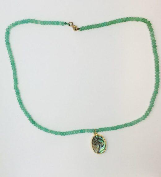 Krótki naszyjnik z chryzoprazów z abalon (muszla), ludzie wysp, żywioł wody, IMG_5392