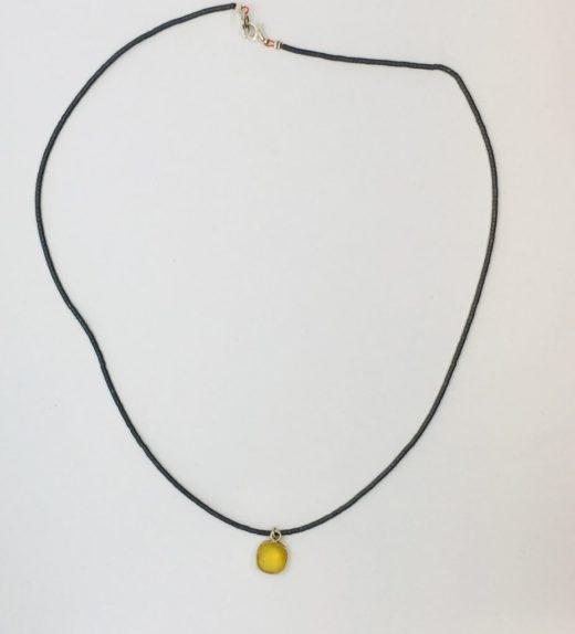 Krótki naszyjnik z hematytów z żółtym chalcedonem, ludzie miasta, żywioł metalu, IMG_5420