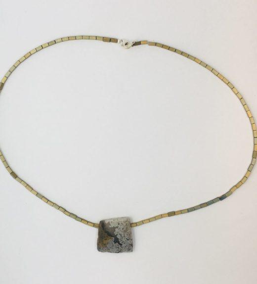 Krótki naszyjnik z hematytów z agatem koronkowym, ludzie miasta, żywioł metalu, IMG_5413