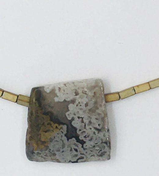 Krótki naszyjnik z hematytów z agatem koronkowym, ludzie miasta, żywioł metalu, IMG_5414